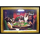 Neonetics Dogs Playing Poker Neon LED Lighted Framed Vintage Advertisement Wall Art