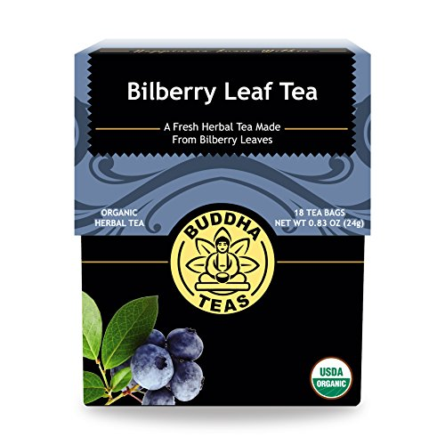 Organic Bilberry Leaf Tea - Kosher, Caffeine-Free, GMO-Free - 18 Bleach-Free Tea - Tea Bags Blueberry Leaf