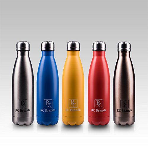 RC BRANDS Best Stainless Steel Double Wall Vacuum Insulated Water Bottle – 500 ML(17 Oz) Reusable – Non-toxic + Copper Technology – Ideal for Camping, Hiking, Cycling, Sports & Travel