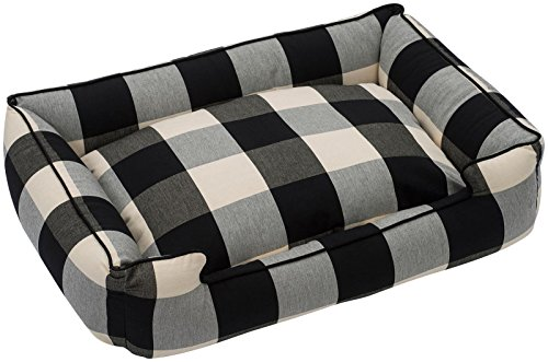 Jax and Bones Buffalo Check Premium Cotton Blend Lounge Bed (Small), Black (Bed Small Black Check)