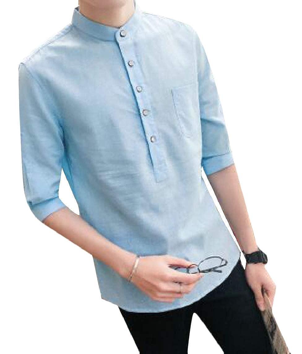 Jmwss QD Mens Half Sleeve Cotton Linen Button up Pure Color Shirt