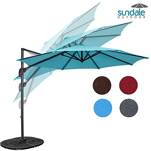 Sundale Outdoor 10ft Hanging Roma Offset Umbrella Outdoor Patio Sun Shade Cantilever Crank Canopy (Light Blue) by Sundale Outdoor