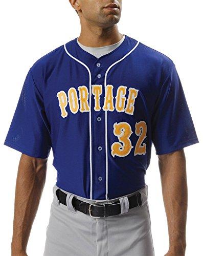 A4 NB4184-ROY Shorts Sleeve Full Button Baseball Jersey, ()
