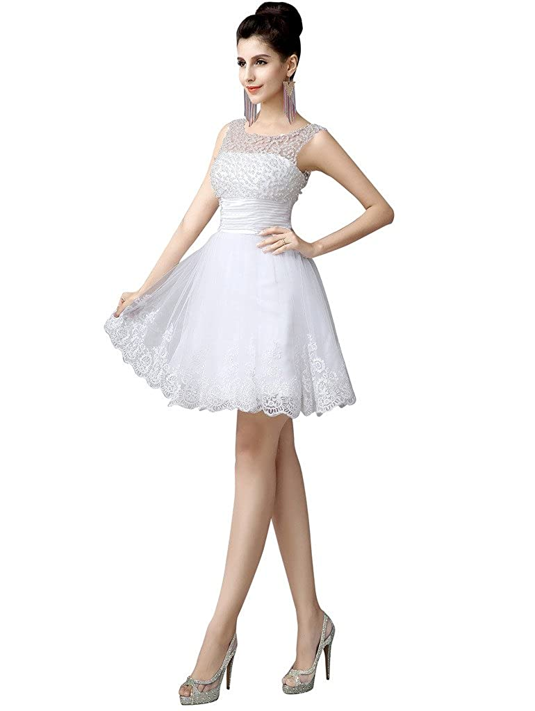 14d1ff1064d0 Edith qi Sleeveless Beaded Short Prom Party Dress Cute Wedding Dress  White&Ivory at Amazon Women's Clothing store: