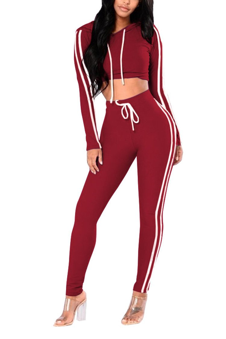 Pink Queen Women's Striped Long Sleeve 2 Piece Outfits Jogging Track Suit XL Wine Red by Pink Queen