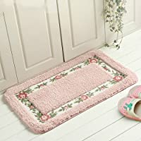 BT-RSTT Decorative Super Soft Floral Design Rural Style Pretty Rose Pattern Non Slip Absorbent Shaggy Area Rug Carpet Doormat Floormat Bath Mat Bathroom Shower Rug (15.7523.62 Inch) (Pink)