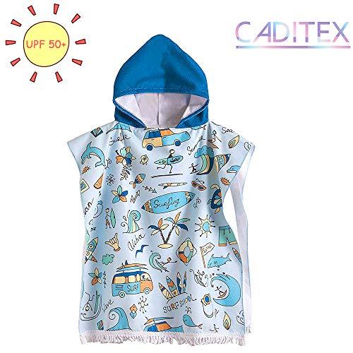 CADITEX Toddler Hooded Beach Bath Towel - Kids Hooded Bath/Beach Towel Girls Boys Cute Cartoon Animal Full Vitality (SURF School)]()