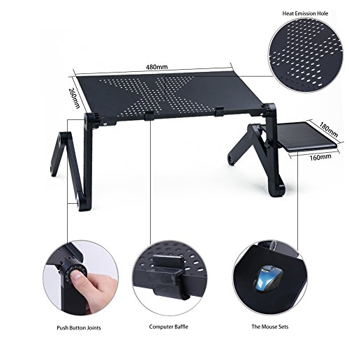 """Portable Laptop Desks,Stand for Bed & Sofa Table - Adjustable Bed Lap Tray Stand-Up Computer Lapdesks with Mouse Pad Side,Laptop,MacBook, Notebook & Tablets Compatible Size up to 18"""""""