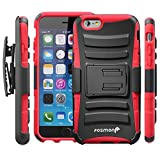 Fosmon (Sturdy) Apple iPhone 6s / 6 Case - Heavy Duty Hybrid Case and Holster with Kickstand for Apple iPhone 6s / 6 - Fosmon Retail Packaging (Red)