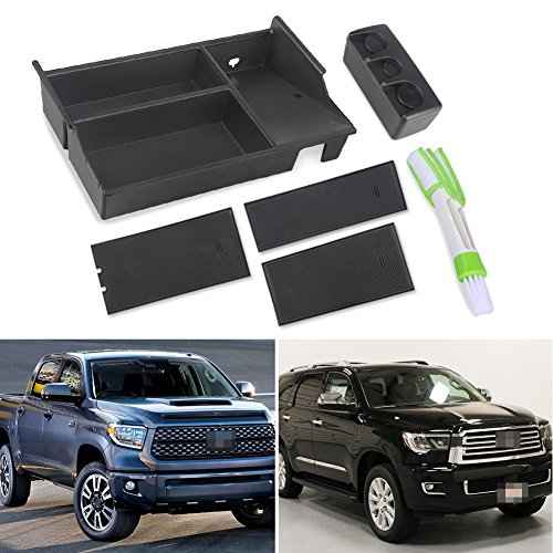 VANJING Center Console Insert Organizer Tray for 2007-2018 Toyota Tundra Accessories & 2008-2018 Toyota Sequoia with A Car Cleaner Brush
