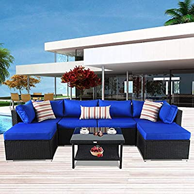 Patio Furniture Garden Rattan Sofa Outdoor Sectional Couch Wicker-Easy Assembled Brown Rattan Turquoise Cushion