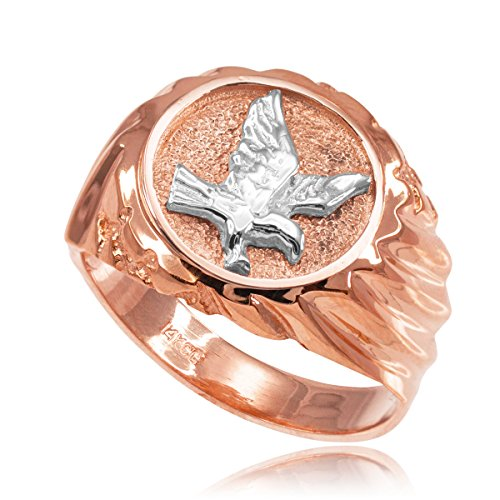 High Polish 14k Rose Gold American Eagle Ring for Men (Size 10)