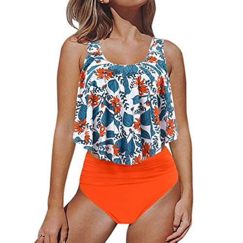 RUUHEE Women Bathing Suits Retro Flounce High Waisted Bikini Set 2 Piece (XL(US Size 8-10),Floral)