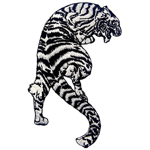 Tiger Patch The Roaring Striped White Tiger Applique Embroidered Iron On Sew On Badge