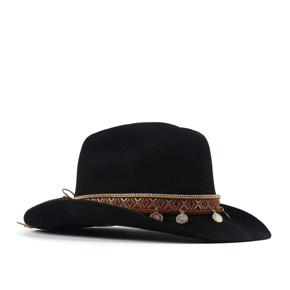 LL Women's 100% Wool Vintage Style Wool Blend Wide Stiff Brim Western Cowboy Hats Tassel Bohemia Ribbon Cowgirl Caps (Color : Black, Size : 56-59cm) by LL (Image #4)