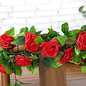 Gilroy Artificial Fake Silk Rose Flower Vine Hanging Ivy Garland Home Decor (Red) 3
