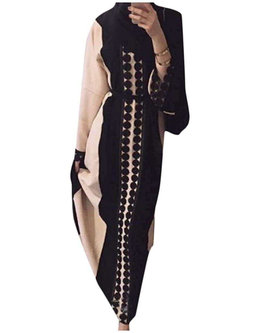 Tootlessly-Women Classic Islamic O-Neck Lace Hem Splice Muslim Abaya