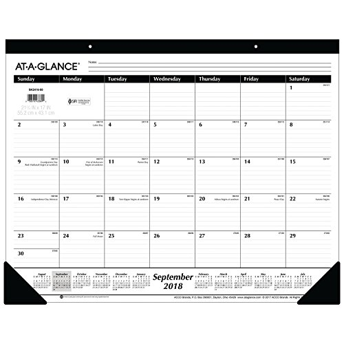 AT-A-GLANCE 2018-2019 Academic Year Desk Pad Calendar, Standard, 22 x 17 (SK241600) (Desk A-glance)