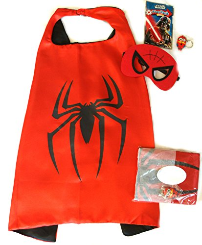 Superhero Cape and Mask Sets for Pretend Play, Dress Up, and Parties (Spiderman) -
