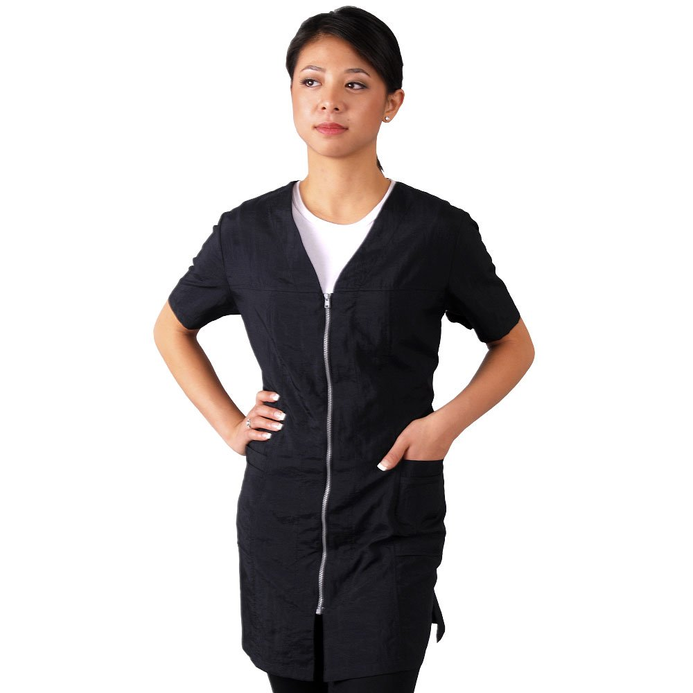JMT Beauty Short Sleeve Black with Zipper Salon Smock (XL (12)) by JMT Beauty