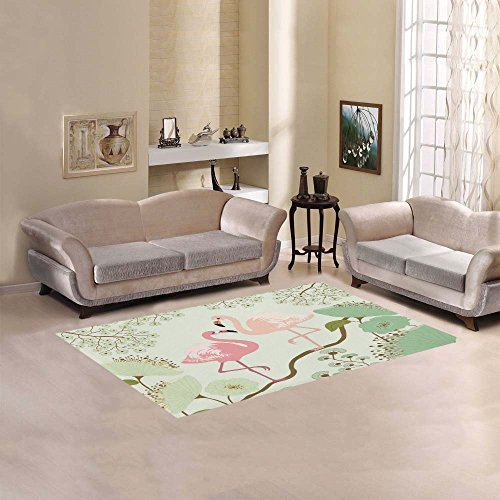 Beautiful Pink Lilies (InterestPrint Vintage Pink Flamingos Beautiful Lotus Flower Area Rug Cover 5' x 3'3, Water Lily Modern Carpet Rugs Cover for Home Living Room Bedroom)