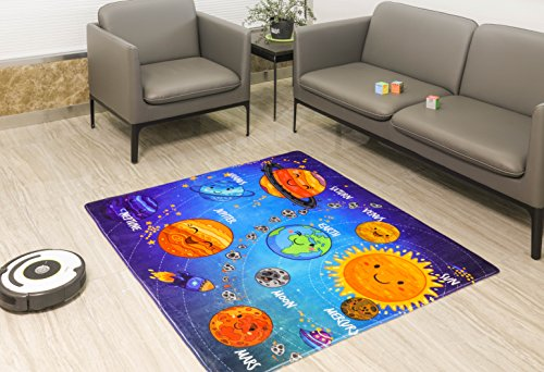 New Super Soft Printed Kids Area Rug from The All American Collection (133 x 150, Solar System) by All American Collection