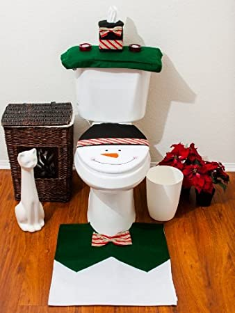 snowman bathroom sets. 4 Pcs Christmas Santa Bathroom Toilet Seat Cover and Rug Set  Green Snowman Amazon com