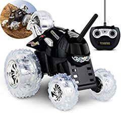 SHARPER IMAGE Thunder Tumbler Toy RC Car for Kids, Remote Control Monster Spinning Stunt Mini Truck for Girls and Boys, Racing Flips and Tricks with 5th Wheel, 49 MHz Black