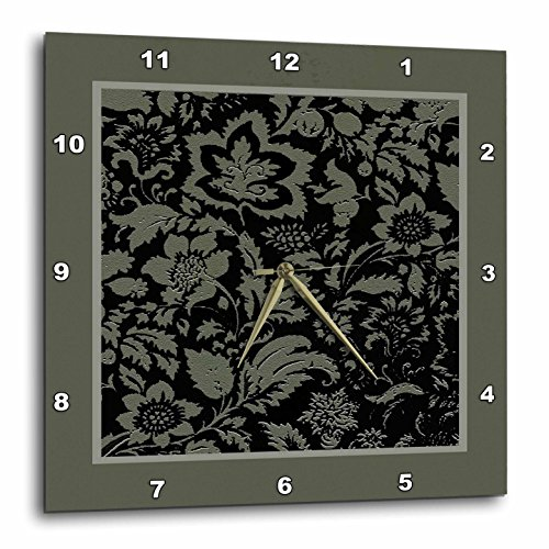 3dRose dpp_40512_1 Leaves in Sage Green Wall Clock, 10 by 10-Inch