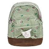 Thenlian Canvas Mini Floral Backpack Women Girls Kids Cheap Coin Pouch (Green)