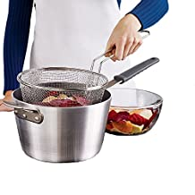 """9"""" Medium Stainless Steel Deep Fry Basket Round Wire Mesh French Chip Frying Serving Food Presentation Tableware With Detachable Handle Fit For Up To 5/6L Pot"""