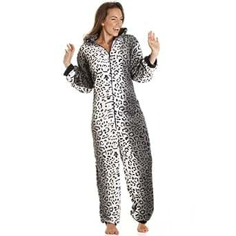 Camille Womens Supersoft Luxury Fleece Grey Snow Leopard Cat All In One Onesie 12/14 GRAY