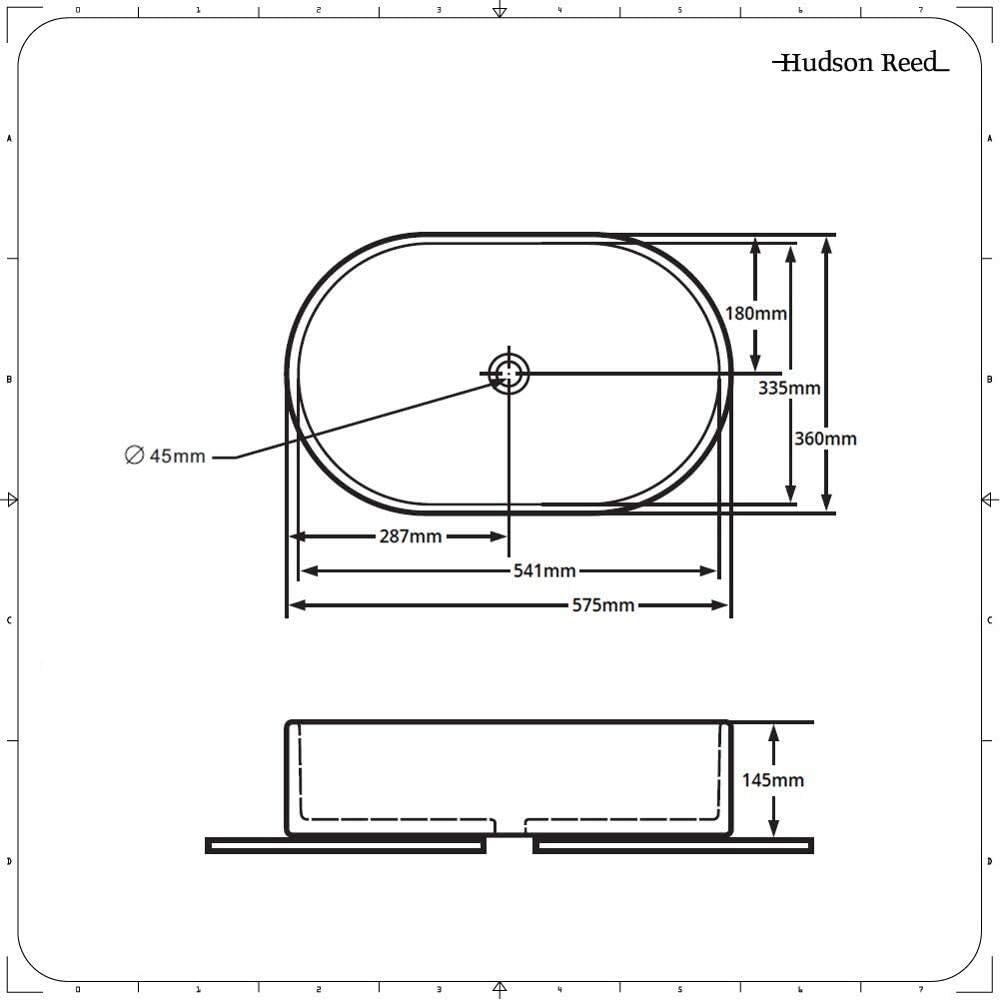 Hudson Reed Vasque Ovale /à Poser 55 X 34.5 CM Gamme Otterton
