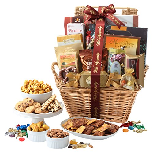 Broadway Basketeers With Sympathy Gift Basket Deluxe with Chocolates, Gourmet Pastries, Seasoned Nuts & Sweets