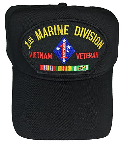 1ST MARINE DIVISION VIETNAM VETERAN WITH CAMPAIGN RIBBONS HAT - BLACK - Veteran Owned Business (Hat Division Marine)