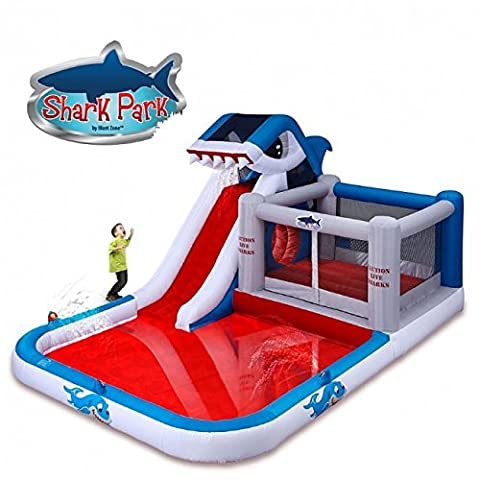 Blast Zone Shark Park Inflatable Water Park Bouncer - Bounce Houses Water Slides