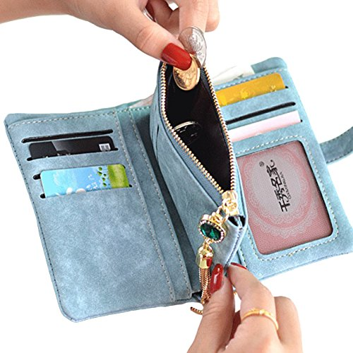 3f5e30d5ce97 YEX Women Wallets PU Leather Suede Clutch Purse Card Holder with Coin  Pocket Bifold Wallet