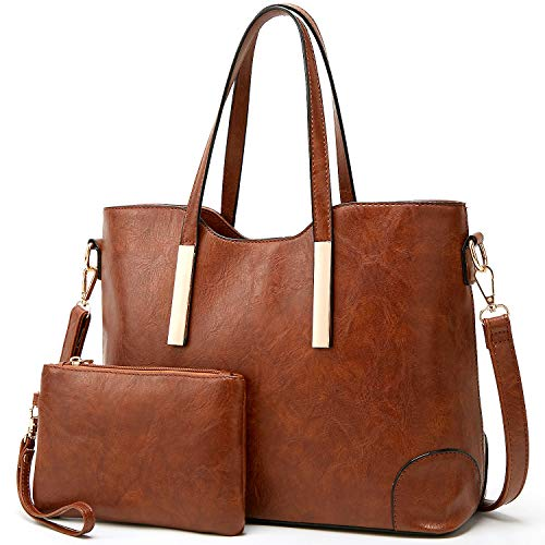 TcIFE Purses and Handbags for Womens Satchel Shoulder Tote Bags Wallets (Womens Dark Brown Handbag)