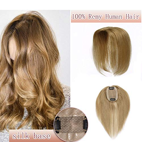 100% Real Human Hair Silk Base Top Hairpiece Clip in Topper Wig for Women Crown in Hand-made Toppee Middle Part with Thinning Hair Loss Hair #27 Dark Blonde 10''20g
