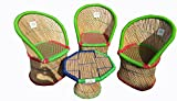 Ecowoodies Clevelandii Cane Bamboo Furniture For Home Indoor /Outdoor /Garden/ Lawn Table Chair Furniture Set (3+1)