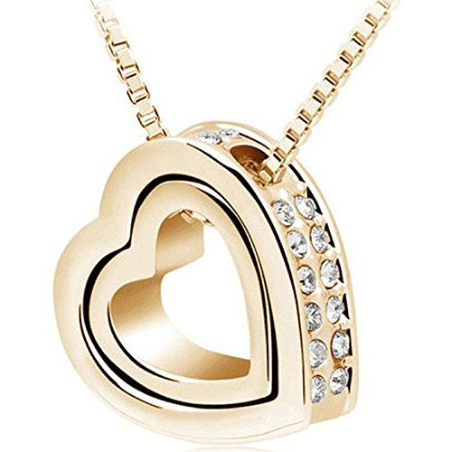 men Double Hearts White Crystal Rhinestone Gold Necklaces ()