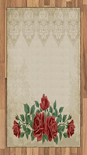 Ambesonne Shabby Chic Area Rug Vintage Glamour Background With Red Rose Love And Attraction Symbol