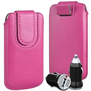 N4U Online Premium PU tirón del cuero del tirón Tab bolsa de la cubierta del caso con la correa magnética Cierre y cargador del coche del USB para Blackberry Q10 - Rosa