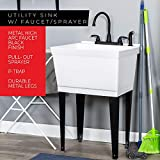 Utility Sink Laundry Tub with Pull Out Duel Setting Faucet by JS Jackson Supplies, Heavy Duty Slop Sinks for Basement, Laundry Room, Garage or Shop, Large Free Standing Wash Station