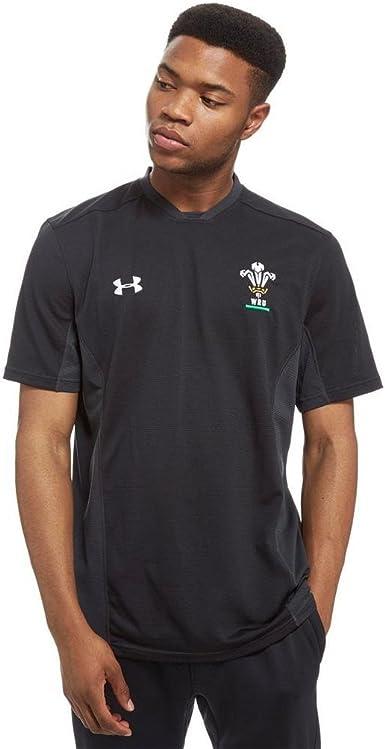 Under Armour 2018-2019 Wales Rugby WRU 1//4 Zip Training Top Black