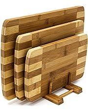 Relaxdays Snijplanken set 3 maten met houder keukenplanken van bamboe gestreepte planken voor ontbijt in modern design in praktische plankstandaard onderhoudsvriendelijk en mesvriendelijk, naturel