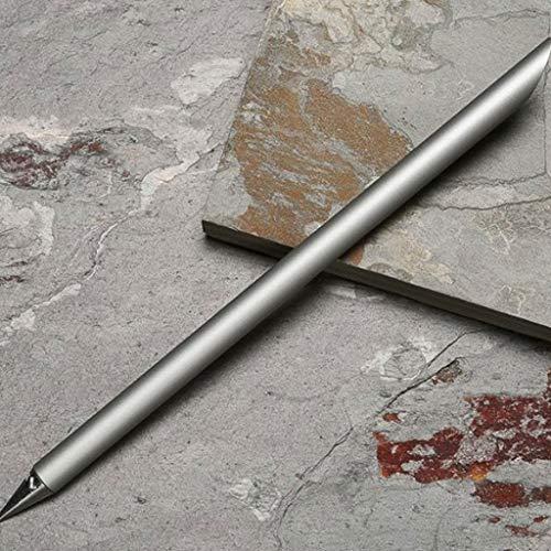 Efaster Inkless Eternal Metal Pen,Designer Automatic Pencil, Everlasting Pencil, Metallic pencil, Ink-less Pen, In-erasable Pen,New Creative Design Office Sign Pen Collectible Gift (Silver)