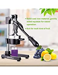 Commercial Citrus Juicer Orange Manual Juice Squeezer Heavy Duty Fruit Presser For Pomegranate Lime Grapefruit Juice Stainless Steel Extractor Cast Iron Body - Non-Skid Suction Foot Base