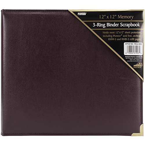 - Pioneer 12 Inch by 12 Inch 3-Ring Sewn Oxford Scrapbook Binder, Burgundy