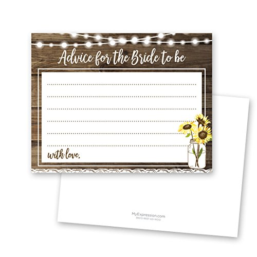 Sunflower Bridal Advice Cards - Rustic Wood and Lace - 48 Cnt